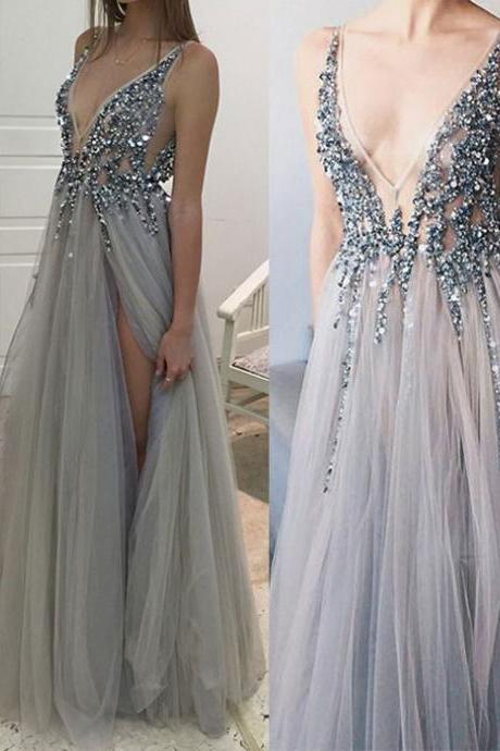 Sexy prom dress, v neck prom dress, beaded prom dress, side split prom dress, grey tulle prom dress, sparkly prom dress, evening dress