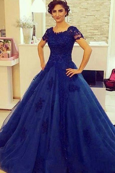 Sexy Cap Sleeve Appliques Tulle Prom Dress, Ball Gown Formal Evening Dresses, Long Prom Dress