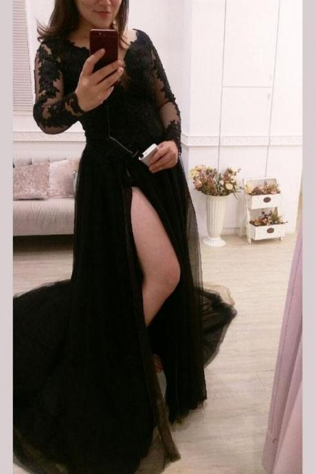 Black Long Sleeve Evening Dress, Sexy Split Side Long Prom Dress, Appliques Prom Gown