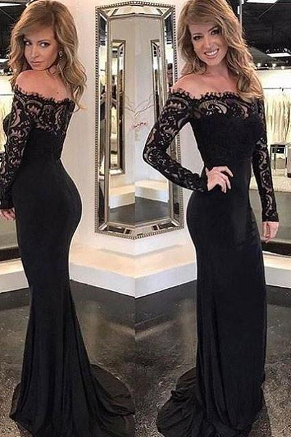 Black Lace Mermaid Evening Dress, Sexy Long Sleeve Trumpet Prom Dresses, Formal Dress