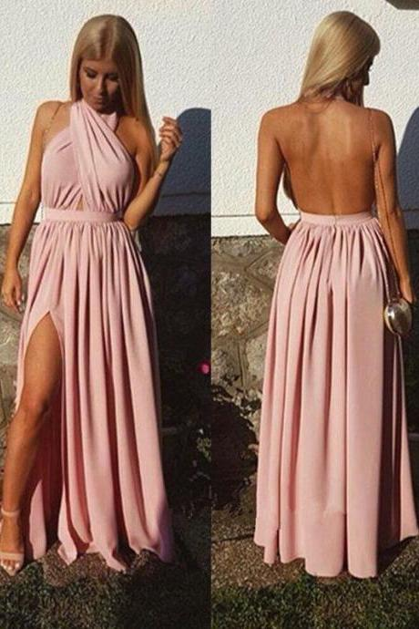 Charming Prom Dress,Sexy Open Back Prom Dresses, Sexy Split Side Long Evening Party Dress