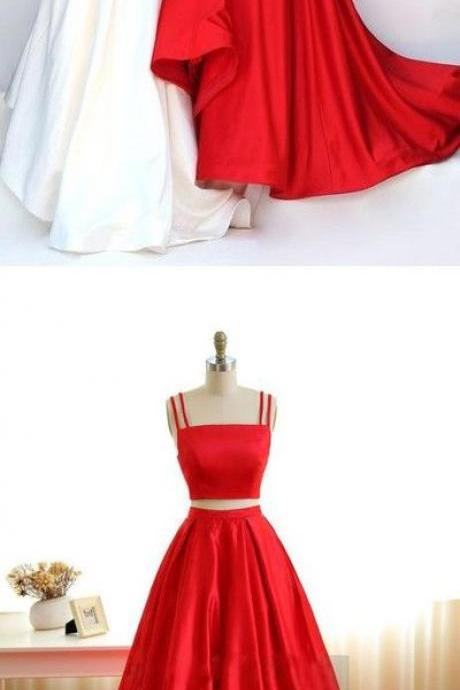 Two Pieces Prom Dress, Spaghetti Straps Prom Dresses, Prom Dress for Teens,Red High Neckline Prom Dress