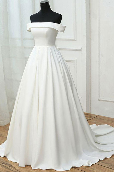 Simple white satin off shoulder long sweet 16 prom dress, long pageant dress