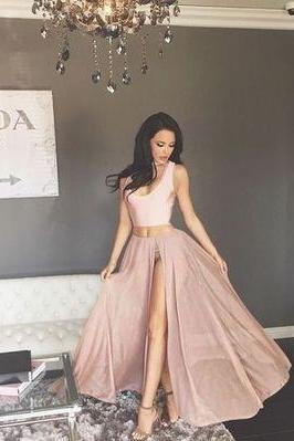 Sexy Two Piece Prom Dress, High Slit Prom Gown, Sleeveless Long Evening Dress