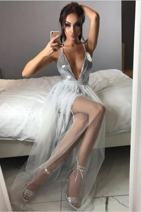 Charming Prom Dress, Long Prom Dresses, Sexy Deep V Neck Evening Dress