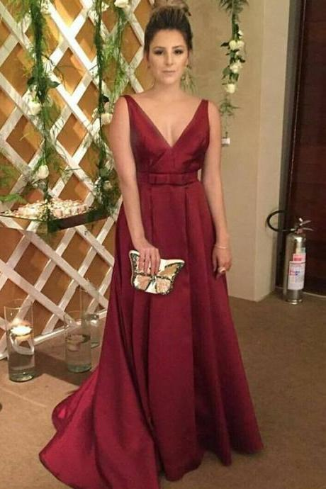 Charming Prom Dress, Long Open Back Prom Dresses, Sexy Burgundy Formal Evening Dress
