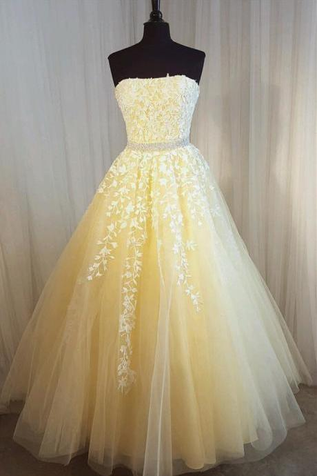 Charming Prom Dress, Long Prom Dresses, Sexy Strapless Tulle Homecoming Dress