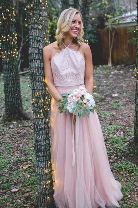 Sexy Lace Pink Prom Dress, Long Sleeveless Prom Gown, Sexy Evening Dress