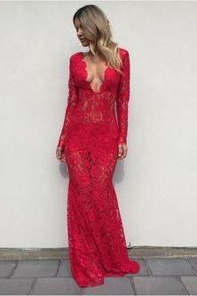Red Lace Prom Dress,Long Sleeves Prom Dress,Fashion Prom Dress,Sexy Party Dress,V Neck Evening Dress,Prom Dress for Women