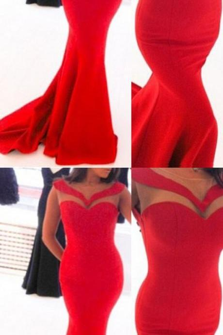 elegant red prom dress, mermaid bodycon party dress, sexy illusion evening dress
