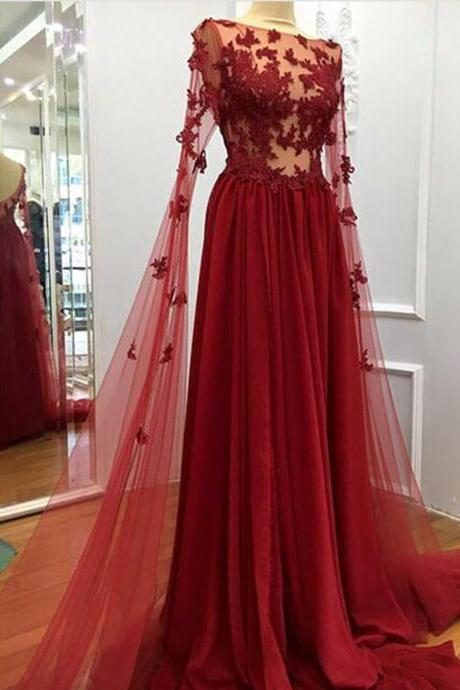 Charming Prom Dress, Sexy Appliques Prom Dress, Long Evening Dress, Formal Dress
