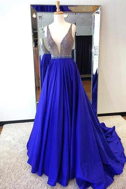 Royal Blue Beading Prom Dress,Long Prom Dresses,Prom Dresses,Evening Dress, Evening Dresses,Prom Gowns, Formal Women Dress