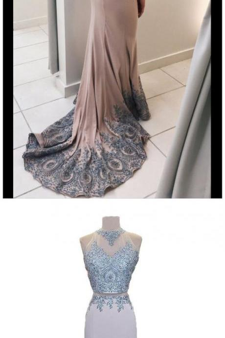 CHIC 2 PIECES PROM DRESS MERMAID SCOOP APPLIQUE LONG PROM DRESS PARTY DRESS