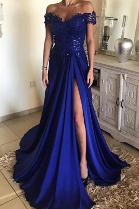 High Slit Evening Dress, A Line Appliques Prom Dress, Dark Blue Long Prom Dresses, Formal Evening Gown