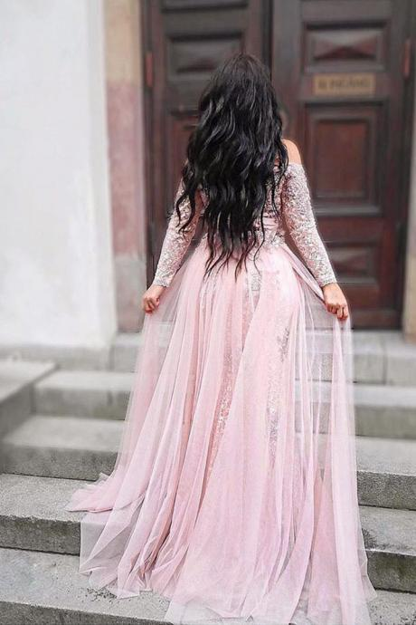 Sexy Long Sleeve Appliques Evening Dress, Split Slit Lace Long Prom Dresses, Formal Gown