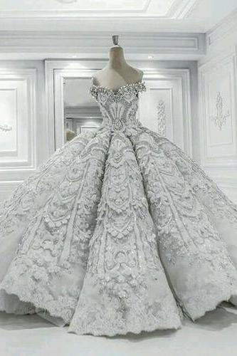 Long Floor Length ball gown quinceanera dresses Evening Dresses Glamorous Prom Dress White Graduaction Dresses