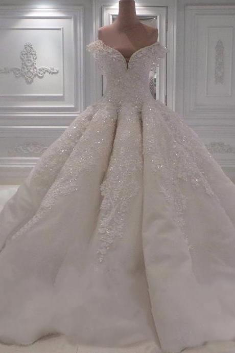 Wedding Dresses, Wedding Gown,sexy off the shoulder white lace sweetheart ball gown wedding dresses with illusion back 2018 new design Princess Wedding Dresses