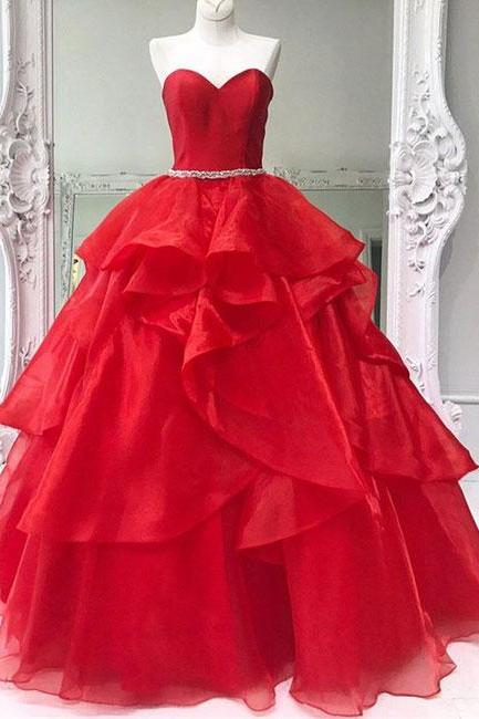 Simple Prom Dresses,New Prom Gown,Vintage Prom Gowns,Red sweetheart neck tulle long prom dress, ball gown Prom Gown
