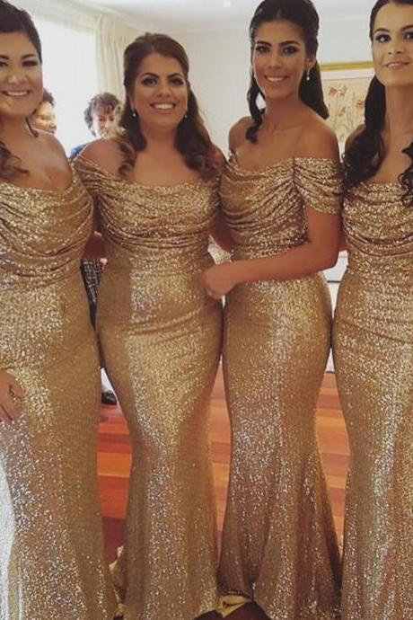 Gold Bridesmaid Dresses,Sequin Bridesmaid Dresses,Off The Shoulder Prom Dresses,Long Evening Dresses