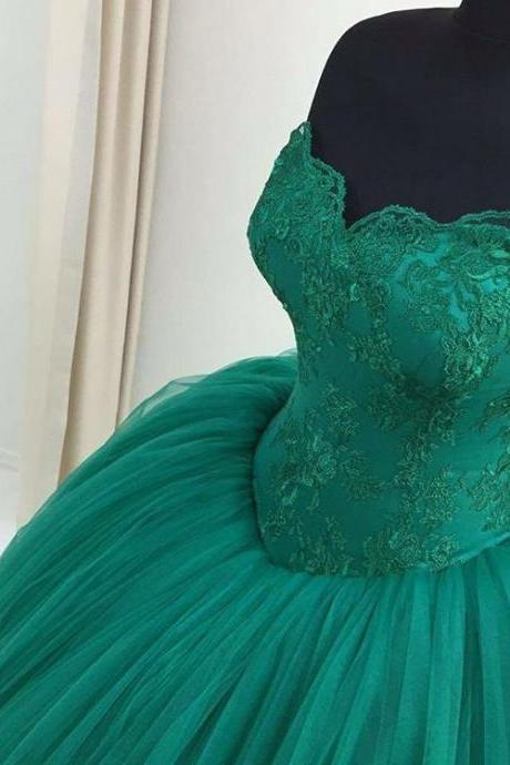 New Arrival Prom Dress,Modest Prom Dress,green lace sweetheart ball gowns prom dress,quinceanera dresses