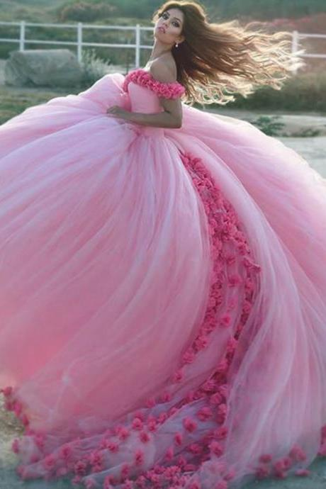 New Arrival Prom Dress,Modest Prom Dress,Flower wedding dress,pink wedding dress,ball gown wedding dress,wedding dress