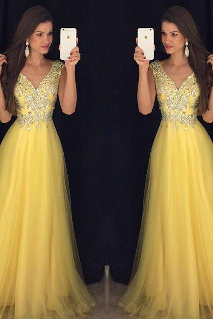 New Arrival Prom Dress,Modest Prom Dress,Deep V Neck Long Yellow Prom Dresses 2018 Cap Sleeves Evening Gowns