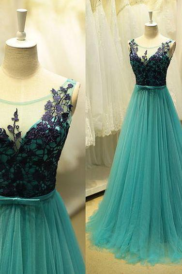 Blue Prom Dresses, Prom Dress,Modest Prom Gown,Tulle Prom Gown,Blue Evening Dress,Lace Evening Gowns,Black Lace Party Gowns