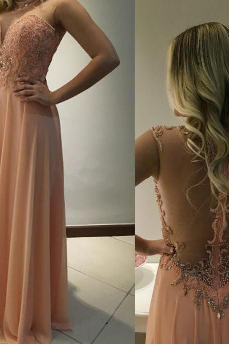 Charming Prom Dress,Chiffon Prom Dress,A-Line Prom Dress,Beading Evening Dress