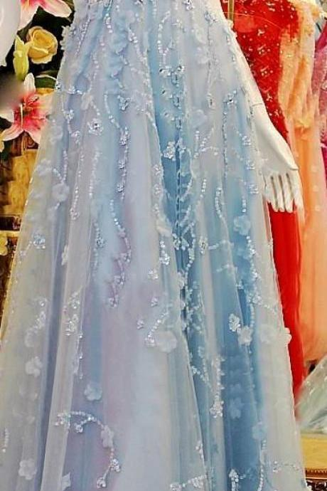 Long Prom Dresses,A line Prom Dress,Light Blue Prom Dresses,Formal Evening Dress,Long Homecoming Dress,Simple Evening Gowns