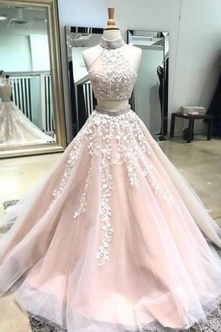 Champagne two pieces lace long prom dress,champagne evening dress