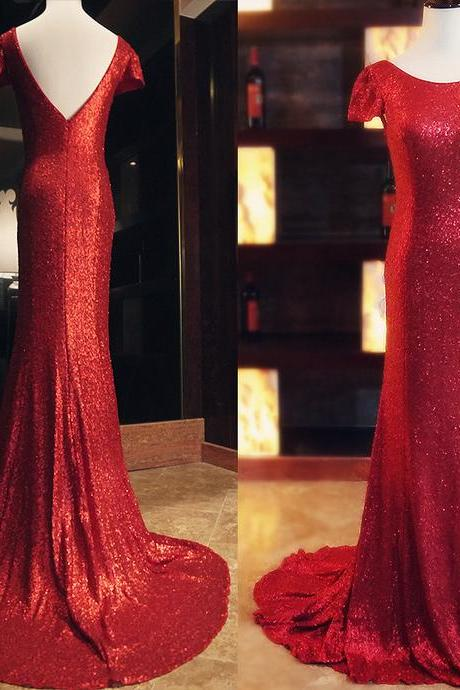 Sexy Sequins Prom Dress, Cap Sleeve Long Prom Dresses, Mermaid Evening Dress