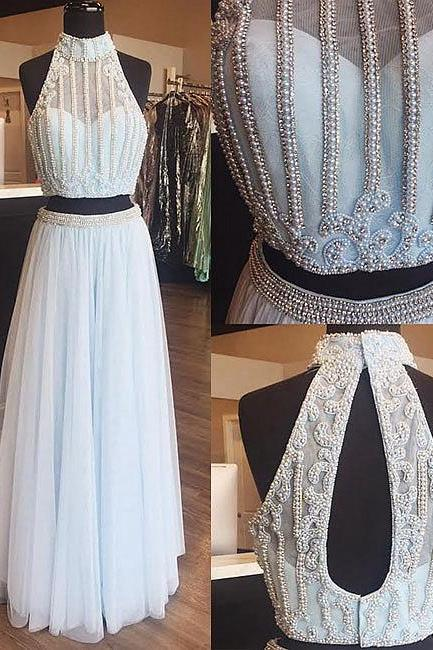 Light blue tulle pearl long prom dress, two pieces evening dress