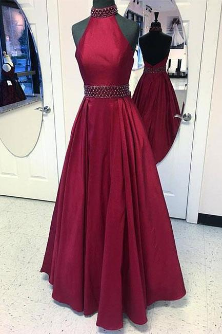Burgundy round neck long prom dress, burgundy evening dress,PD0003