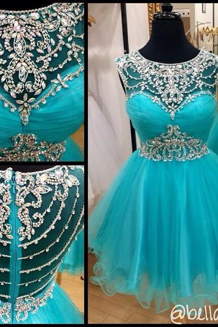 Blue Homecoming Dress,Short Prom Gown,Tulle Homecoming Gowns,A Line Beaded Party Dress, Elegant Prom Dresses,PD0006