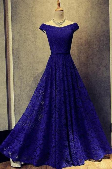 Glamorous A-Line Off-The-Shoulder Royal Blue Lace Long Prom Dress