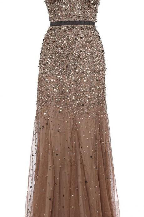 V-Neck Spaghetti Strap Beaded Mermaid Long Prom Dress, Evening Dress