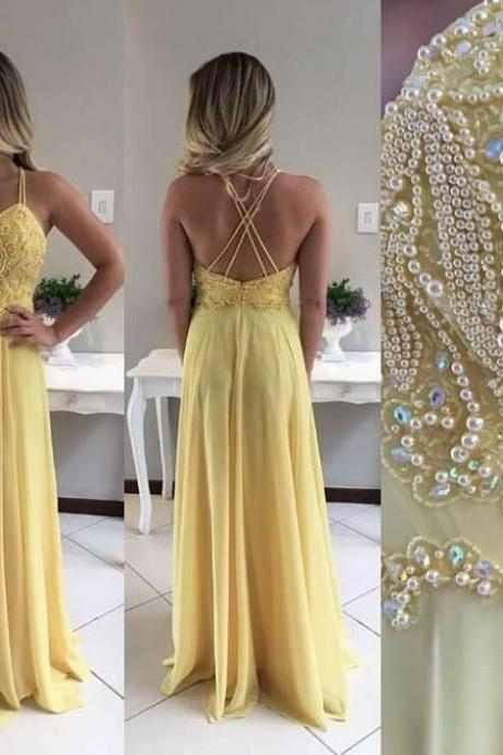 Sexy Sleeveless Prom Dress, Chiffon Prom Dresses , Long Evening Dress