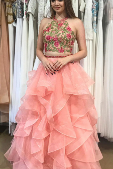 Charming Tulle Ruffles Prom Dress, Sexy Appliques Long Prom Dress,Sleeveless Evening Party Dress