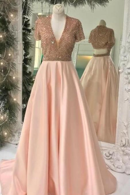 Charming Prom Dress, Sexy V Neck Beaded Prom Dresses with Short Sleeve, Long Evening Dress