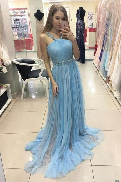 Simple blue tulle long prom dress, tulle evening dress