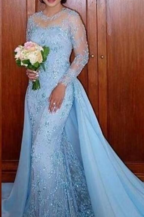 Charming Long Sleeve Blue Appliques Mermaid Evening Dresses, Formal Long Prom Dress