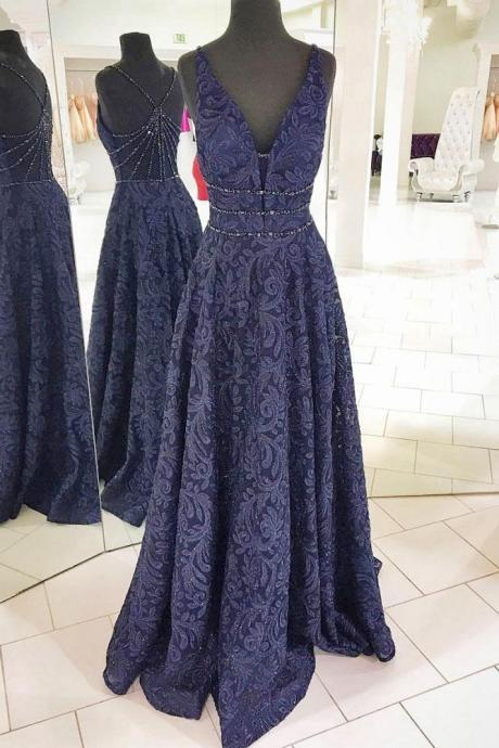 v-neck navy blue lace long prom dress, PD33365