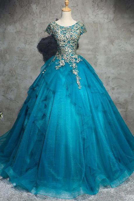 A-line blue short sleeves long prom dress, PD3564