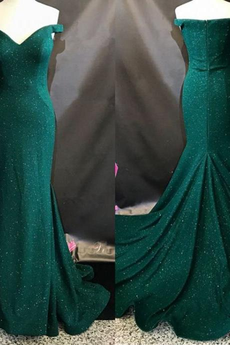 Dark Green Sparkly Off-The-Shoulder Mermaid Long Prom Dress, Evening Dress with Court Train