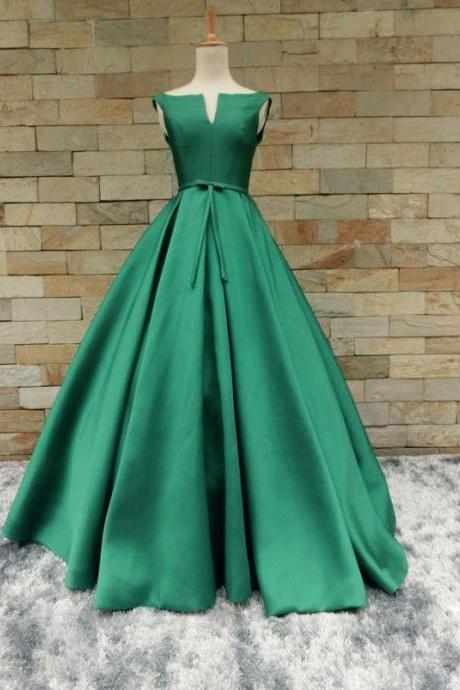 simple and elegant green A-line satin long prom dress, PD1440
