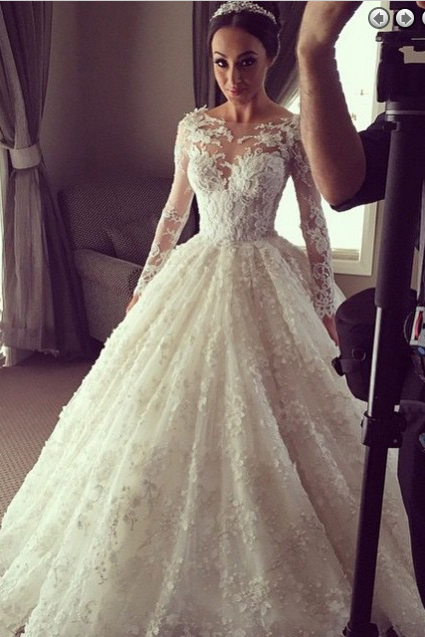 floor-length long sleeves ivory lace modest elegant wedding dress, PD1465