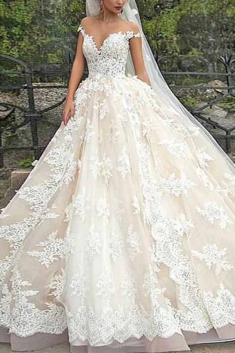 charming formal A-line lace short sleeves 2018 long wedding dress, PD1467
