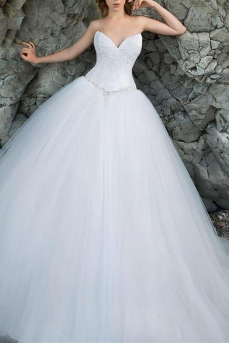 simple elegant sweetheart A-line white tulle long wedding dress, PD1468