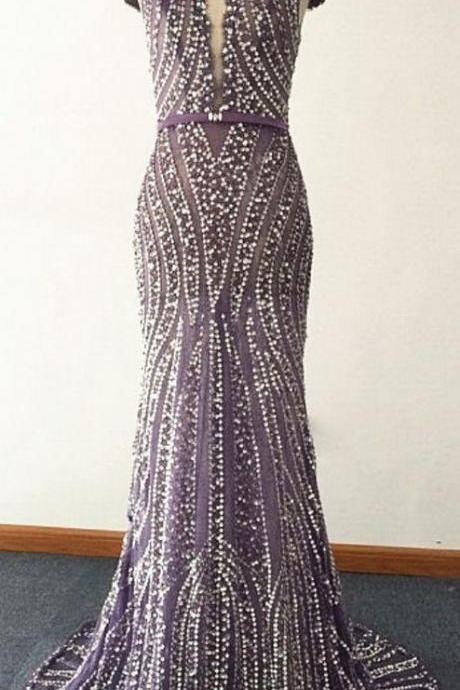 elegant short sleeves full beaded formal mermaid long prom dress, PD1586