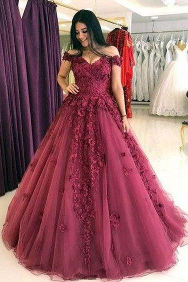 A-line burgundy off shoulder lace long prom dress, PD1595